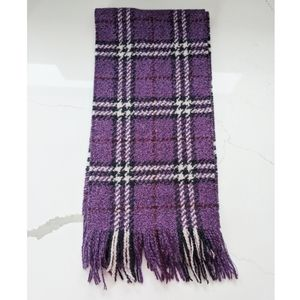 Authentic BURBERRY wool purple check scraf